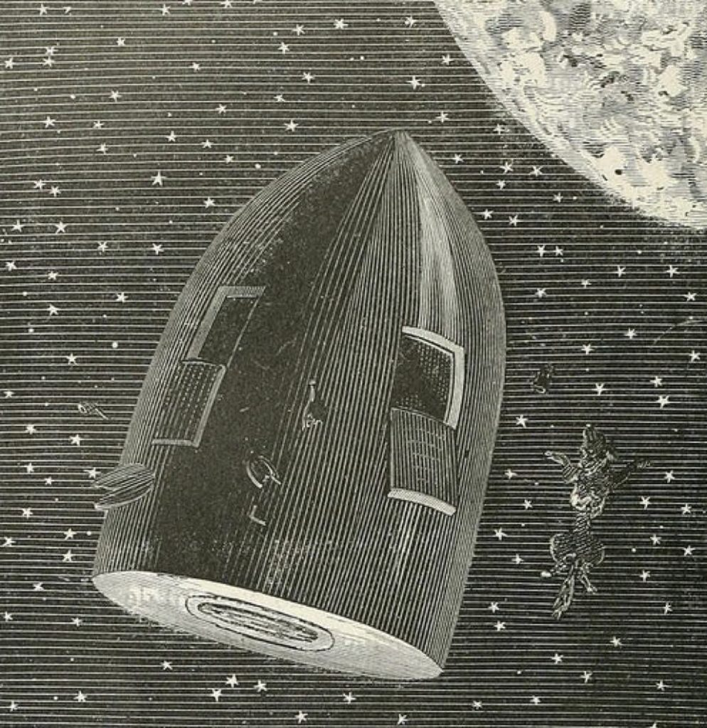 Detail of an Illustration by Émile-Antoine Bayard's for Jules Verne's Around the Moon (1870).