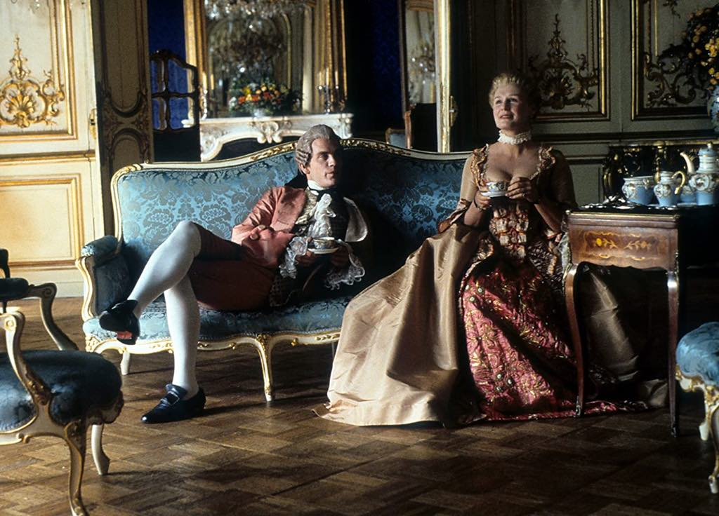 John Malkovich as the Vicomte de Valmont and Glenn Close as the Marquise de Merteuil in Stephen Frears' 1988 film of Dangerous Liaisons.