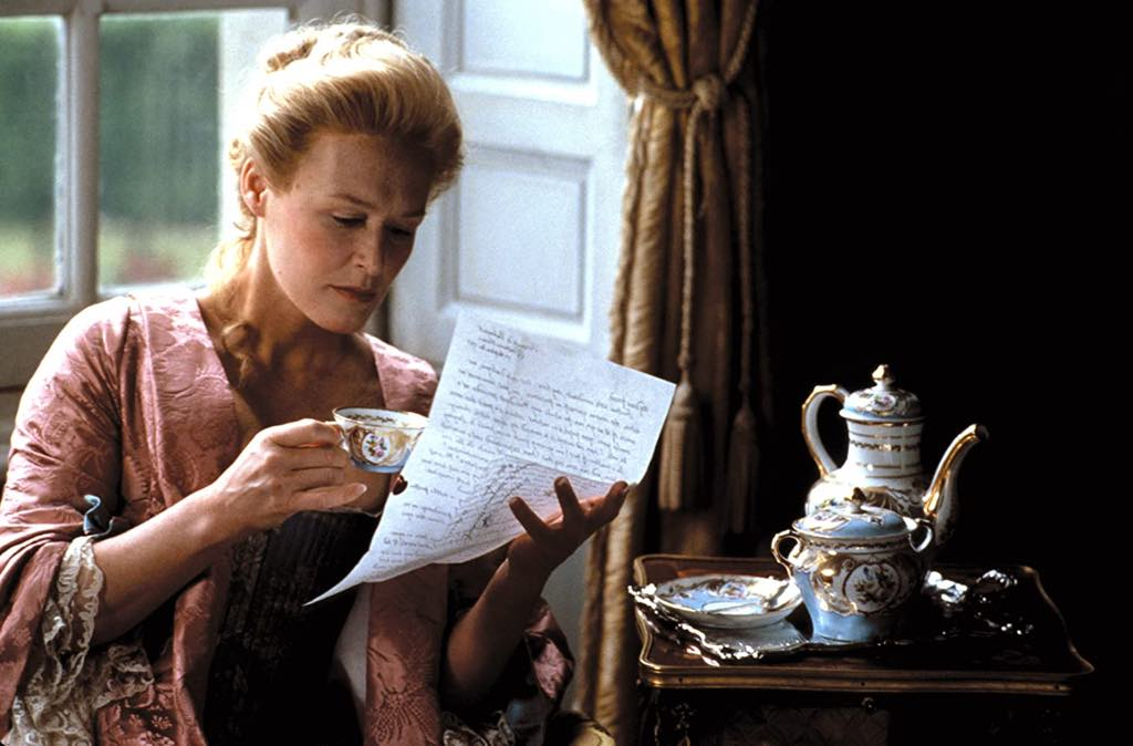 Glenn Close as the Marquise de Merteuil in Stephen Frears' 1988 film of <em>Les Liaisons Dangereuses.</em>