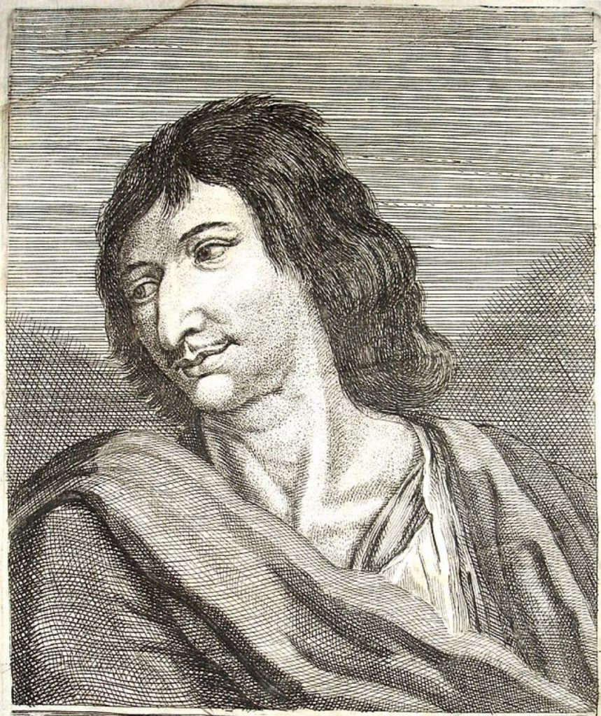 The real-life Cyrano de Bergerac, who wrote one of the first science-fiction novels, in 1657. Anonymous engraved portrait after a painting by Zacharie Heince.