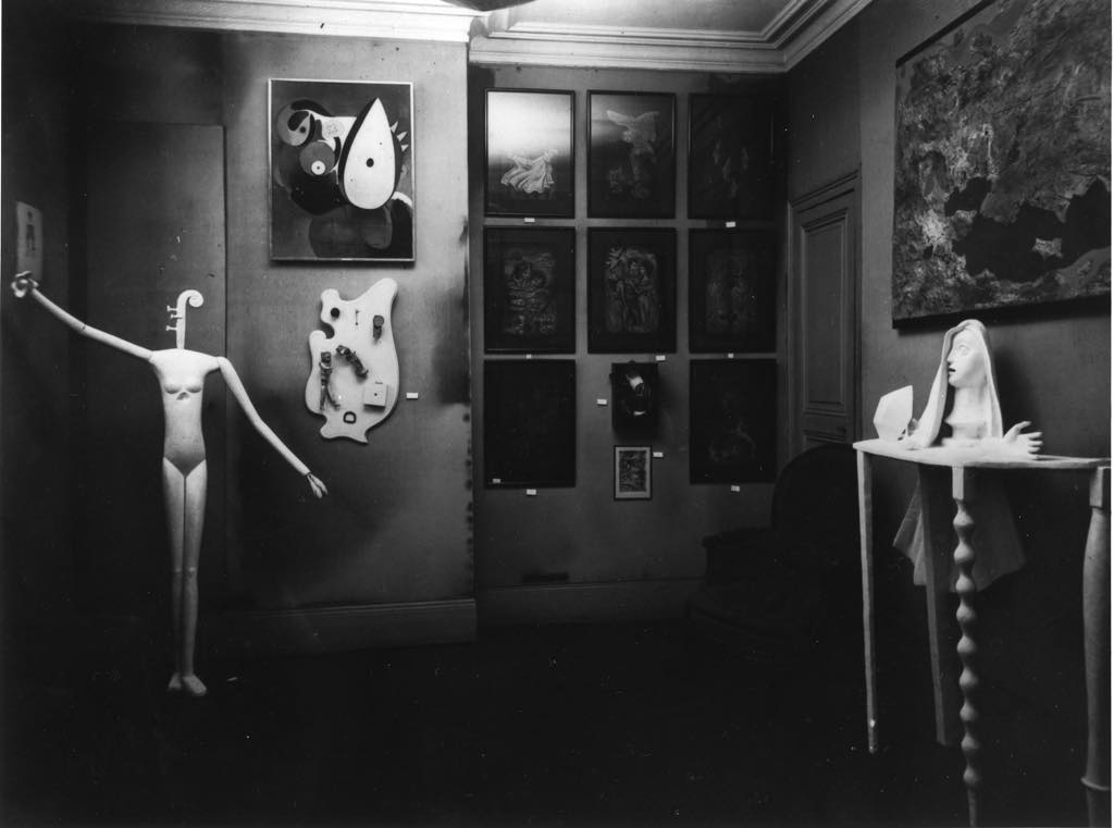 View of the Surrealist exhibition at the Galerie Pierre Colle in June 1933. Photo Man Ray, Archives of the Fondation Giacometti, Paris