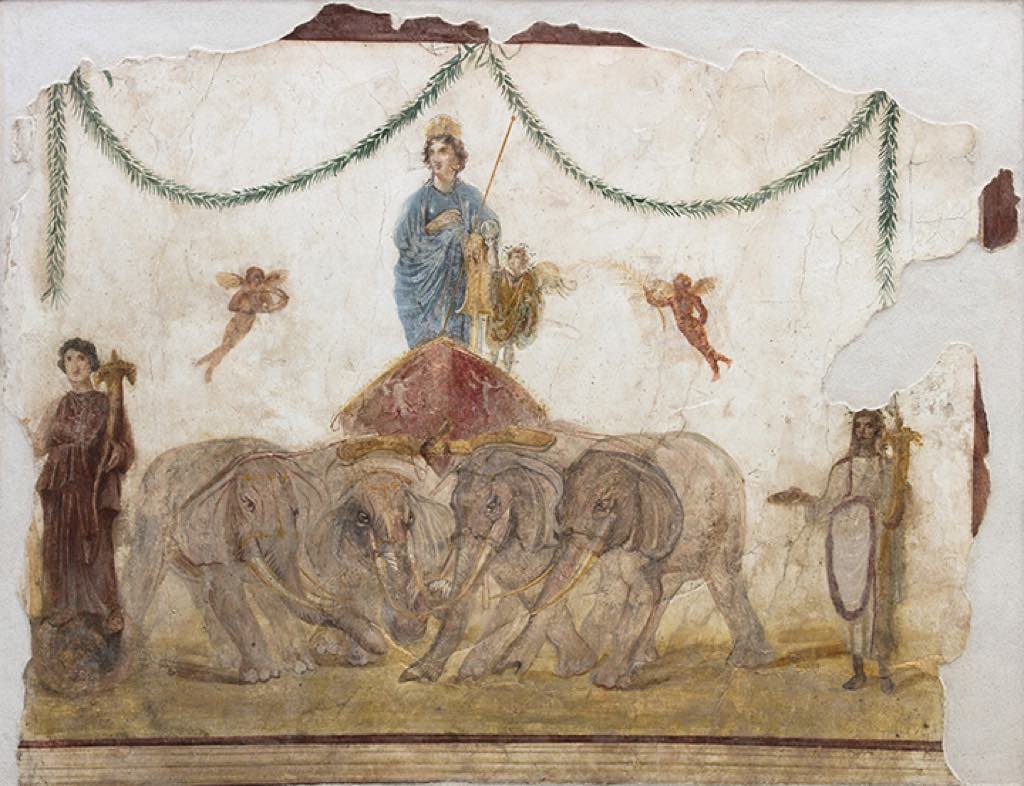 """Venus on Her Chariot Pulled by Elephants"" (1st century), a Pompeii fresco. © Parco Archeologico di Pompei, Amedeo Benestante"