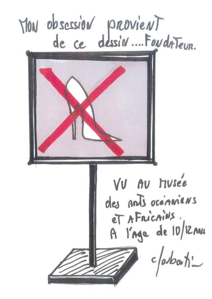 Christian Louboutin's sketch of the museum sign banning high heels that inspired his profession. © Christian Louboutin