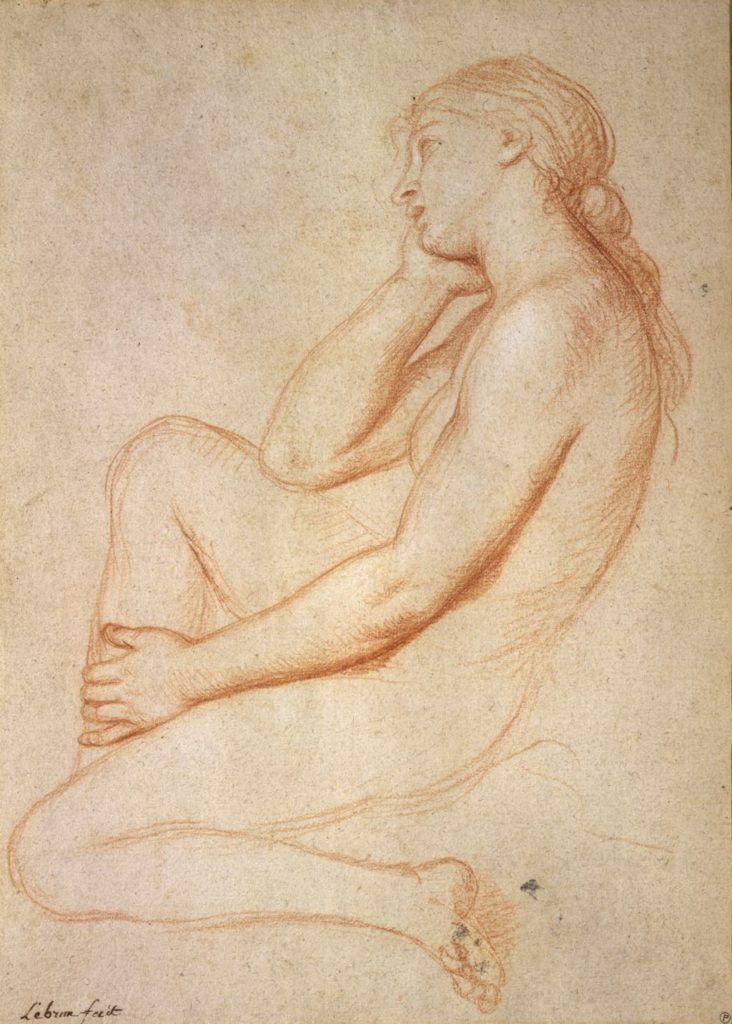Red-chalk study of a nude woman (undated) by Charles Le Brun. Prat Collection