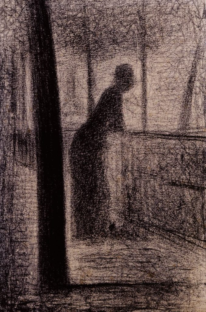"""Woman Leaning on a Parapet by the Seine"" (c. 1881), by Georges Seurat. Prat Collection"
