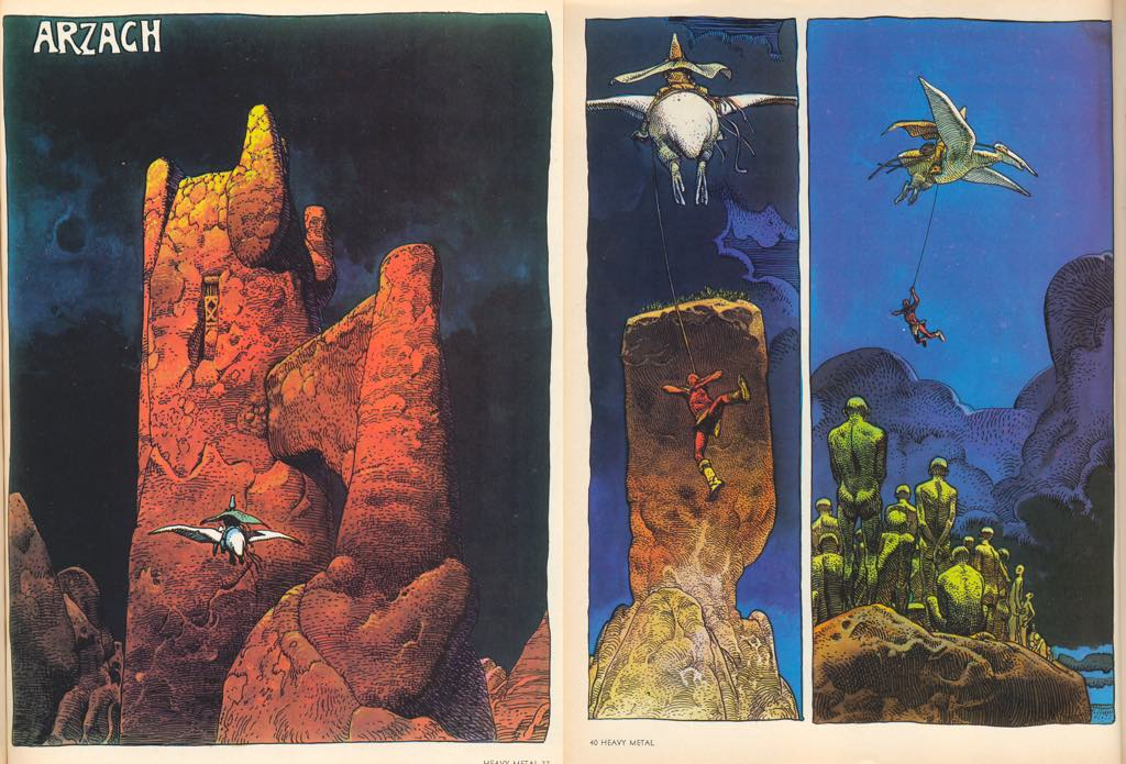 Pages 1 and 4 of Mœbius's first Arzach story.