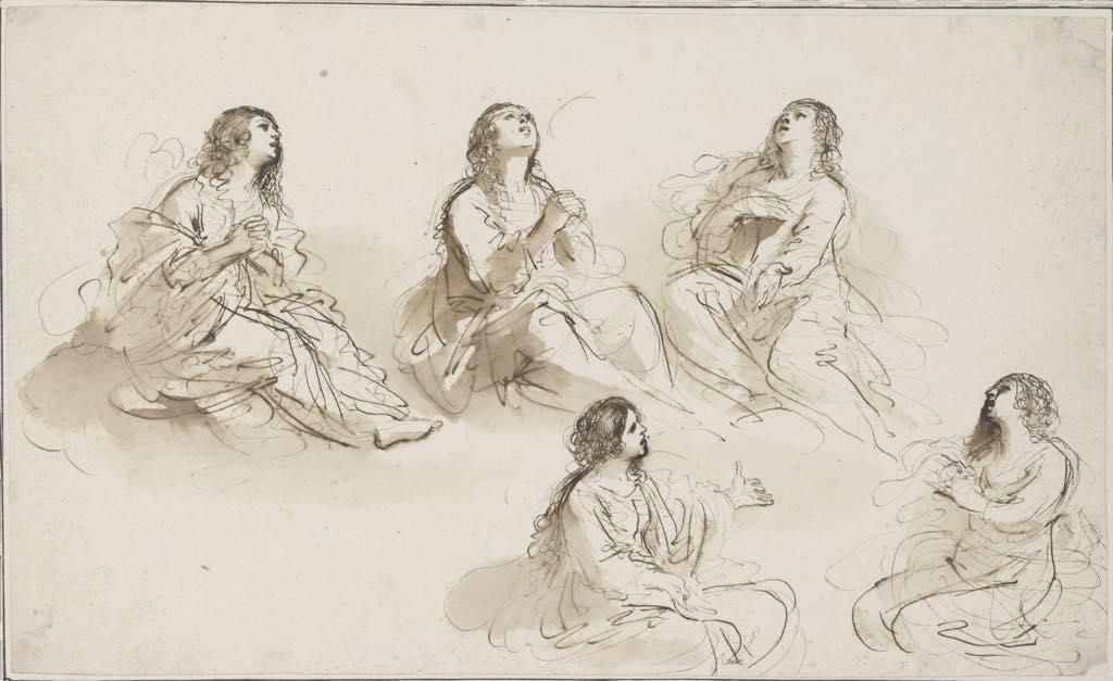"""Five Studies for the Magdalen"" (c. 1620), by Guercino (Giovanni Francesco Barbieri). Fondation Custodia, Collection Frits Lugt, Paris"