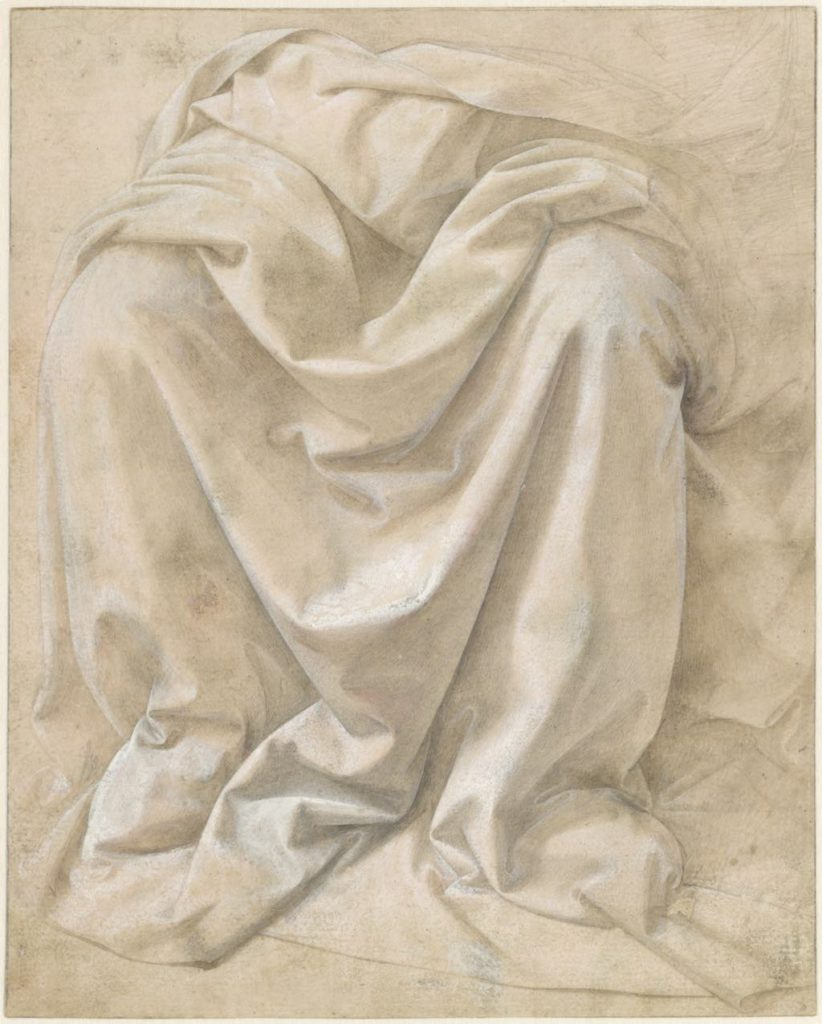 """""""Study of Drapery for a Seated Figure"""" (c. 1478-80), by Lorenzo di Credi. Fondation Custodia, Collection Frits Lugt, Paris."""