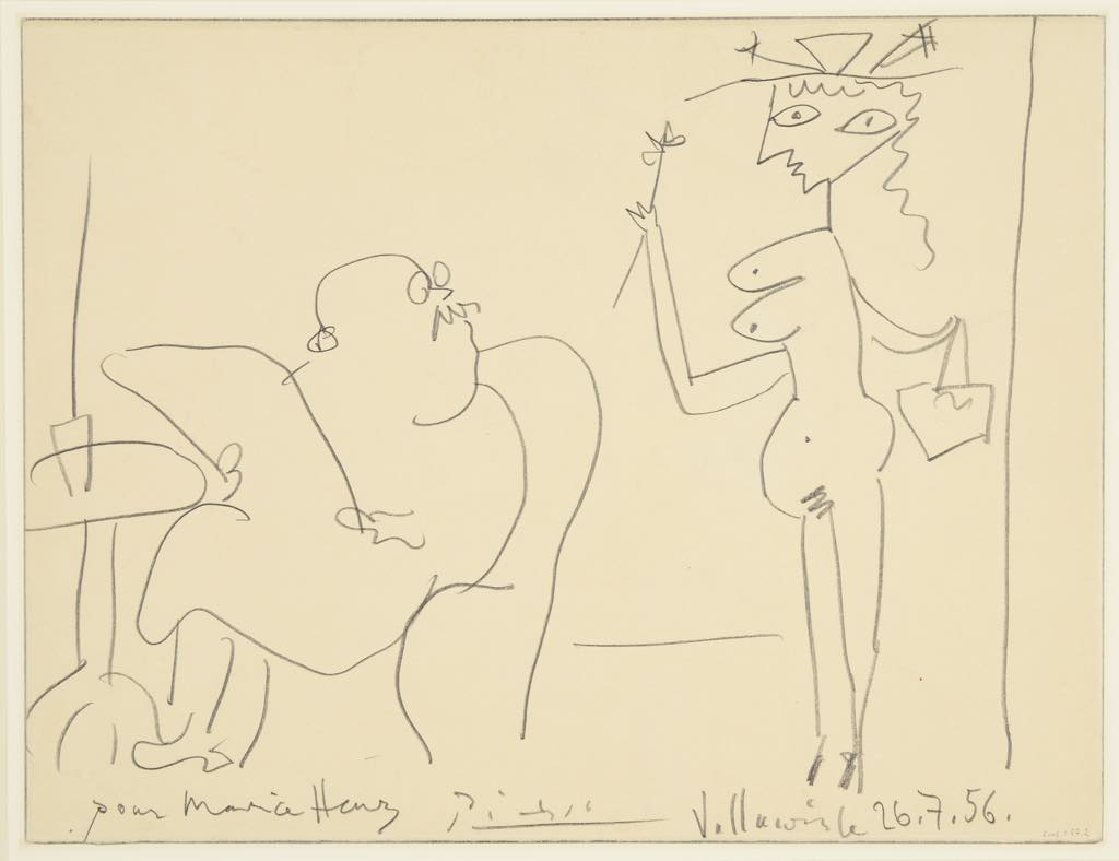 """Pablo Picasso: """"Guess what painter I just posed for"""" (undated). See the companion drawing by Maurice Henry on the other side above. Musée de Reims"""