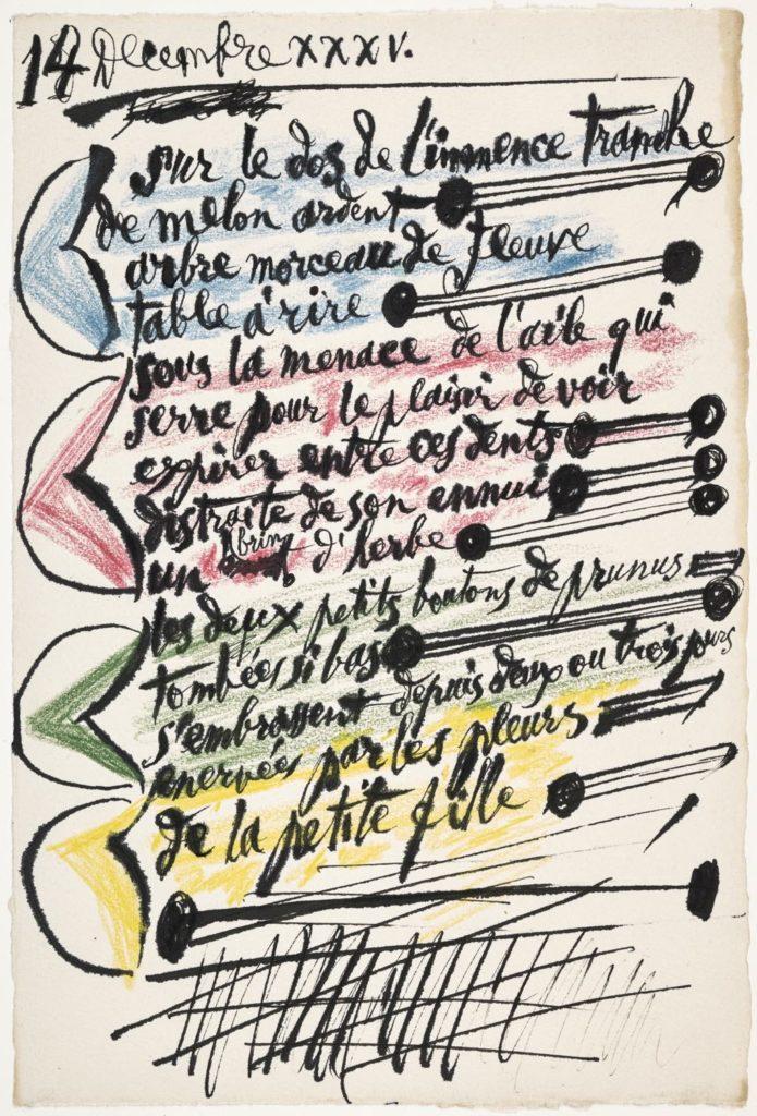 """Pablo Picasso: """"Sur le dos de l'immense tranche de melon ardent..."""" (December 14, 1935). Photo © RMN-Grand Palais (Musée National Picasso-Paris)/Mathieu Rabeau © Succession Picasso 2020"""