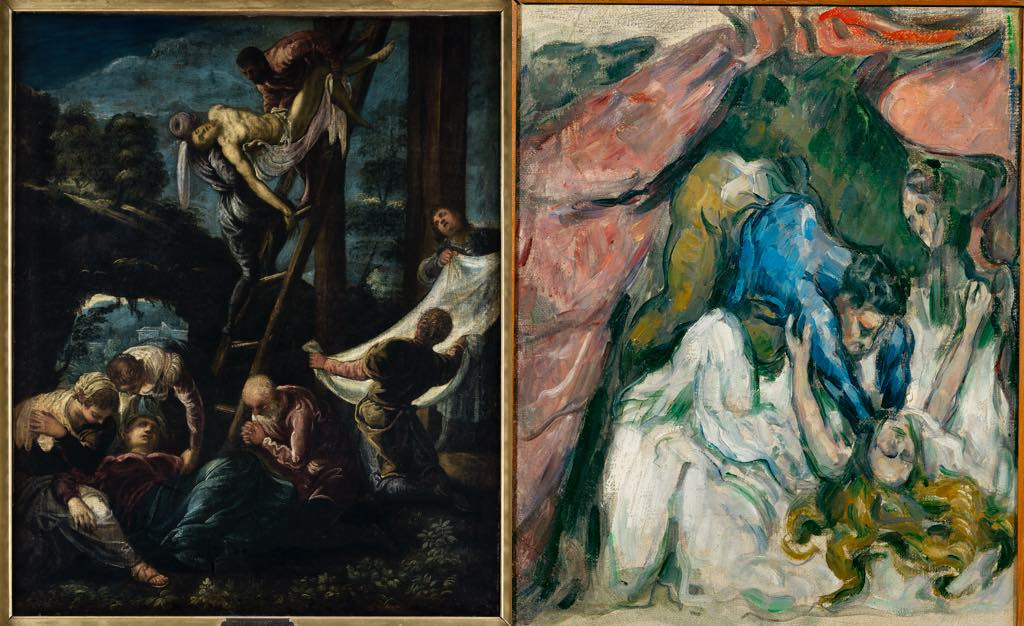 "Left: ""Descent from the Cross"" (1580), by Tintoretto. © Photo Musées de Strasbourg, M. Bertola. Right: ""The Strangled Woman"" (1875-76), by Paul Cezanne. © Musée d'Orsay, Dist. RMN-Grand Palais/Patrice Schmidt"