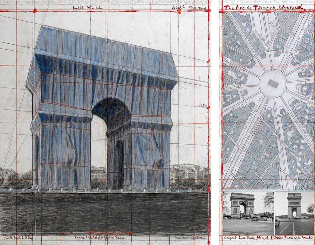 """The Arc de Triumph (Project for Paris, Place de l'Etoile-Charles de Gaulle) Wrapped"". Collage 2018. Photograph by Wolfgang Volz. Photo: André Grossmann © 2018 Christo"