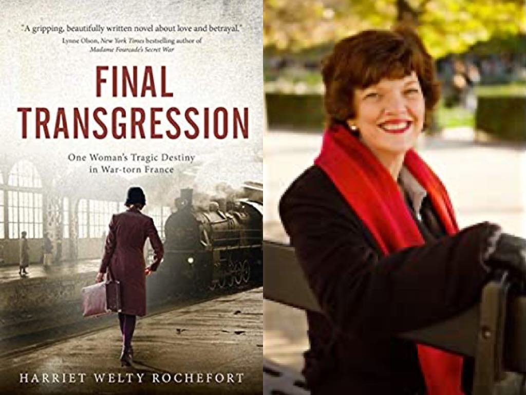 Author Harriet Welty Rochefort and the cover of her novel, Final Transgression.