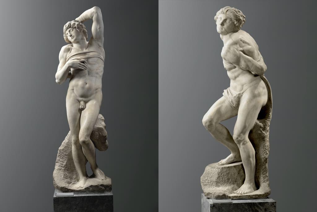 "Left: ""The Dying Slave""; right: ""The Rebellious Slave"" (1513-16), by Michelangelo Buonarroti. © Musée du Louvre, dist. RMN=Grand Palais/Raphaël Chipault."