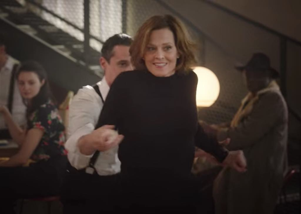Sigourney Weaver dances the Lindy Hop in a Paris hotel bar in Season 4, Episode 5 of Call My Agent.
