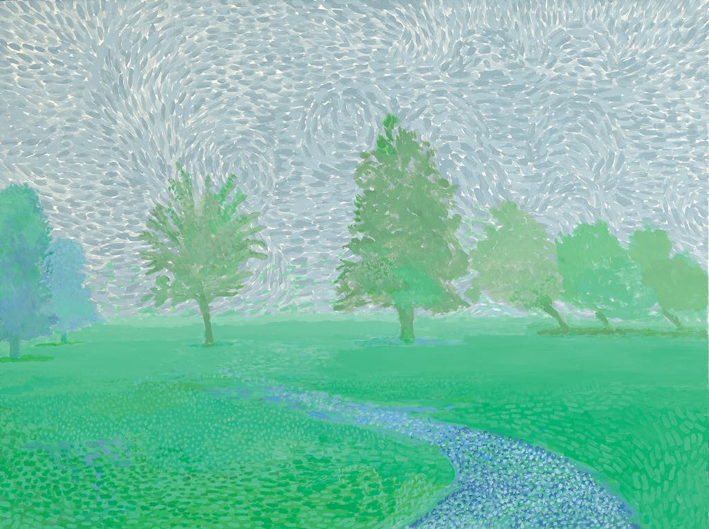 """Trees Mist"" (2019). © David Hockney Photo: Richard Schmidt. Courtesy Galerie Lelong & Co. Paris"