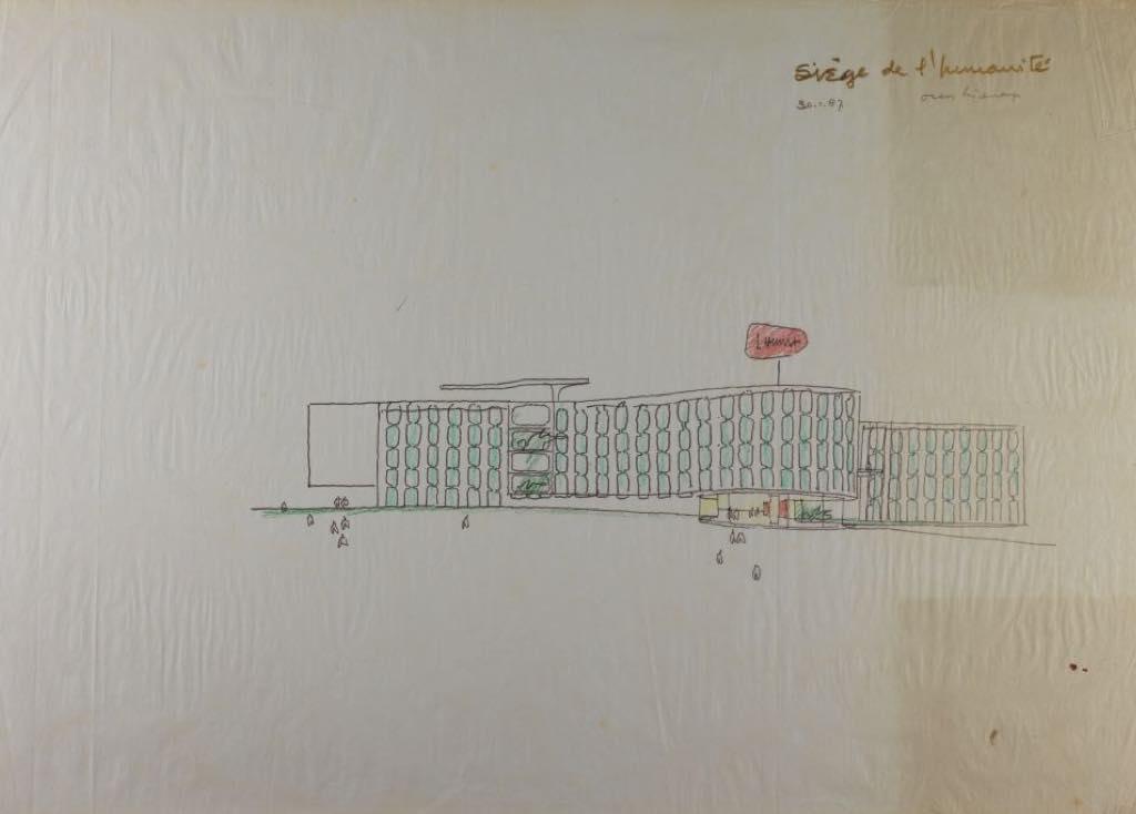 Oscar Niemeyer's sketch for the Humanité headquarters in Saint-Denis. © Fondation Oscar Niemeyer, Rio de Janeiro