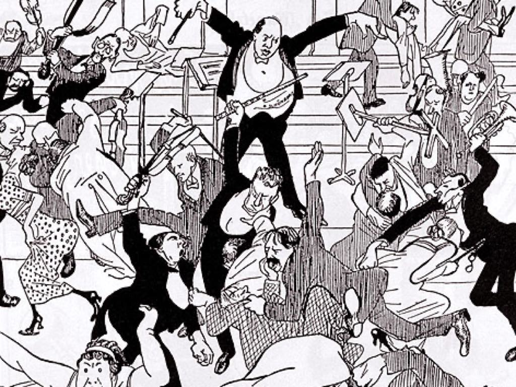 This caricature appeared in Die Zeit in 1913 after the premiere in Vienna of two of Alban Berg's Altenberg Lieder, conducted by Arnold Schoenberg, caused a riot.