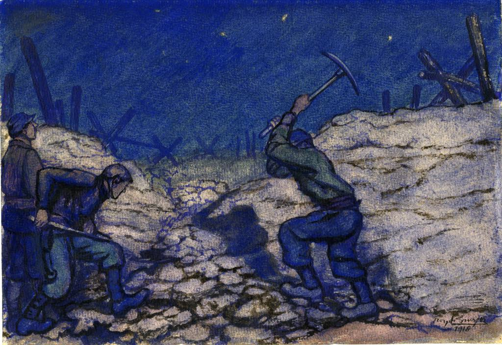 """""""Caved-in Trench"""" (1916), a drawing by Georges Bruyer. Soldiers had to work under cover of darkness to repair the trenches."""