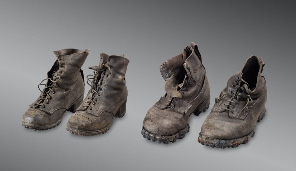 The shoes worn by the Dumoulin couple when they disappeared in 1942. © Musées Cantonaux du Valais, Sion. Photo: Michel Martinez