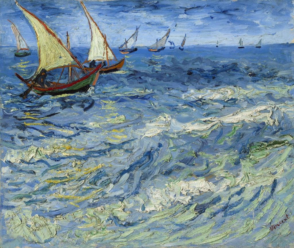 """Seascape at Saintes-Maries"" (Saintes-Maries-de-la-Mer, 1888). Pushkin State Museum of Fine Arts, Moscow"