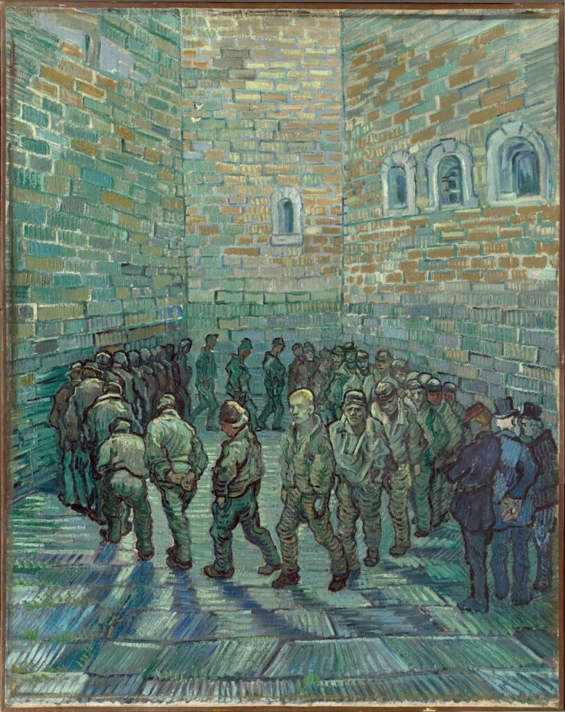 """""""The Prison Courtyard, Saint-Rémy"""" (1890), by Vincent van Gogh. Pushkin State Museum of Fine Arts, Moscow"""